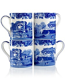 Spode Dinnerware, Set of 4 Blue Italian Mugs