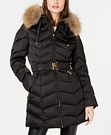 Hooded Belted Fur-Trim Hooded Down Puffer Coat