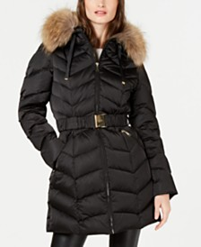 Tahari Hooded Belted Fur-Trim Hooded Down Puffer Coat