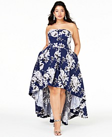 Trendy Plus Size Strapless High-Low Gown, Created for Macy's