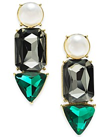 INC Gold-Tone Green Stone and Imitation Pearl Drop Earrings, Created for Macy's