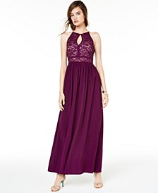 Juniors' Glitter Lace Gown