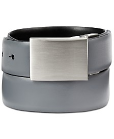 Calvin Klein Men's Feather-Edge Plaque Reversible Belt