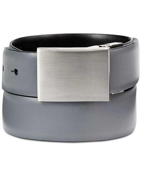 Calvin Klein Men's Feather-Edge Plaque Reversible Belt