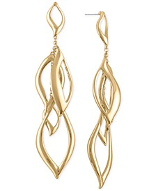 Gold-Tone Open Leaf Chandelier Earrings