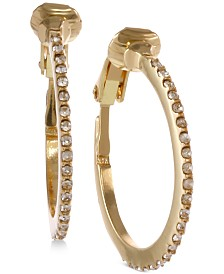Laundry by Shelli Segal Small Gold-Tone Pavé Clip-On Hoop Earrings 3/4""