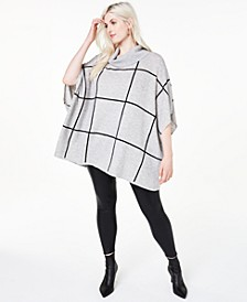 Plus Size Cashmere Windowpane Poncho, Created for Macy's
