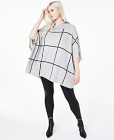 Charter Club Plus Size Cashmere Windowpane Poncho, Created for Macy's