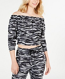 Juniors' Printed Off-The-Shoulder Cropped Top, Created for Macy's