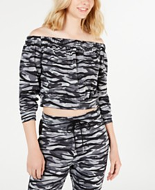 Material Girl Juniors' Printed Off-The-Shoulder Cropped Top, Created for Macy's