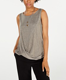 BCX Juniors' Twist-Front Necklace Top