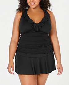 Plus Size Beach Club Ruffled Tankini Top & Swim Skirt