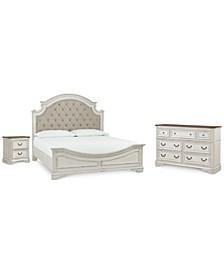 Stevenson Manor Upholstered Bedroom 3-Pc. Set (King Bed, Nightstand & Dresser)