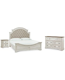 Stevenson Manor Upholstered Bedroom Furniture, 3-Pc. Set (King Bed, Nightstand & Dresser)