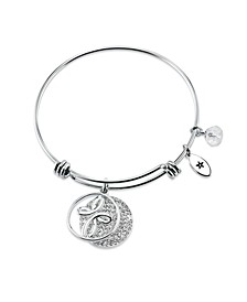 """""""Faith Makes All Things Possible"""" Crystal Cross Adjustable Bangle Bracelet in Stainless Steel"""