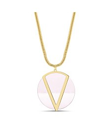 Catherine Malandrino Women's Pink Flat Disc Chain Necklace