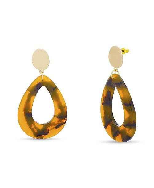 Catherine Malandrino Women's Simulated Tortoise Shell Drop Earrings