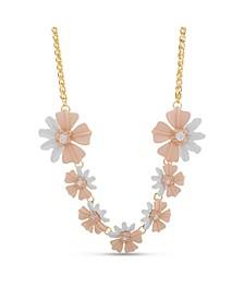 Women's Pink Flower Chain Necklace