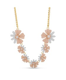 Catherine Malandrino Women's Pink Flower Chain Necklace
