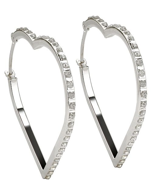 Diamond Accent Large Heart Hoop Earrings 1 Reviews Main Image