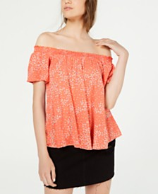 Self Esteem Juniors' Printed Off-The-Shoulder Peasant Top