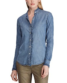 Lauren Ralph Lauren Petite Ruffle-Trim Cotton Denim Shirt