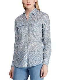 Petite Floral-Print Cotton Voile Shirt