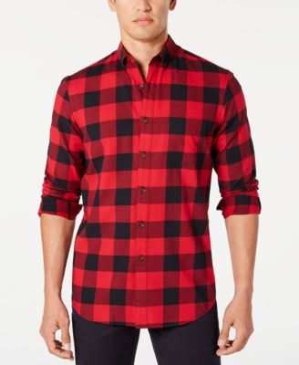 Club Room Mens Flannel Plaid Casual Shirt