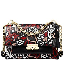 Cece Graffiti Print Leather Small Shoulder Bag