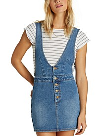 Juniors' Cotton Denim Overall Dress