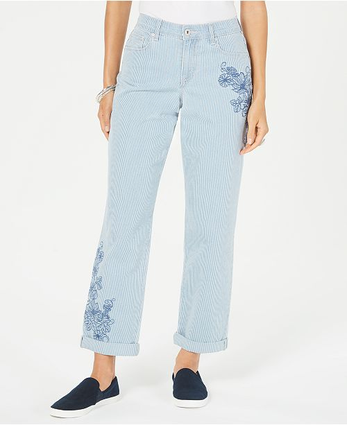 Style & Co Striped Embroidered Curvy-Fit Boyfriend Jeans, Created for Macy's