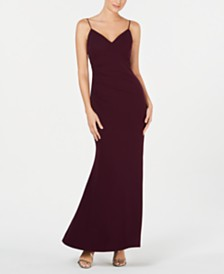 Calvin Klein Side-Ruched Gown