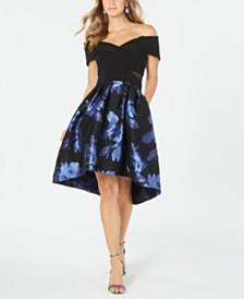 XSCAPE Off-The-Shoulder Floral-Print Fit & Flare Dress