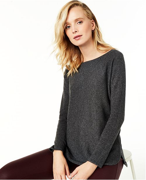 Charter Club Pure Cashmere Long-Sleeve Shirttail Sweater, Regular & Petite Sizes, Created for Macy's