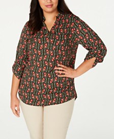 NY Collection Plus Size Printed Roll-Tab-Sleeve Top