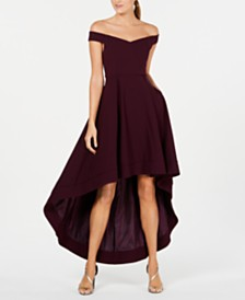Calvin Klein Off-The-Shoulder High-Low Dress