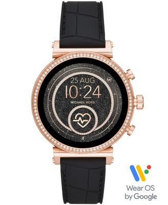 Michael Kors Access Women's Gen 4 Sofie   Embossed Black Silicone Strap Touchscreen Smart Watch 41mm, Powered by Wear OS by Google™