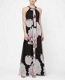 Embellished Neckline Floral Maxi Dress