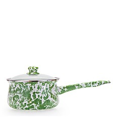 Golden Rabbit Green Swirl Enamelware Collection 5 Cup Sauce Pan