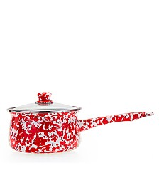 Golden Rabbit Red Swirl Enamelware Collection 5 Cup Sauce Pan