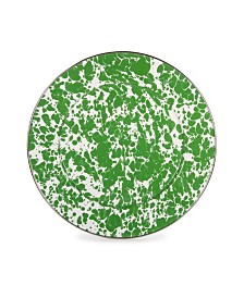 """Golden Rabbit Green Swirl Enamelware Collection 12.5"""" Charger Plate"""