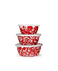 Red Swirl Enamelware Collection Nesting Bowls, Set of 3