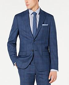 Men's Modern-Fit Stretch Blue Plaid Suit Jacket