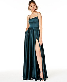 Juniors' Satin Corset Slit Gown
