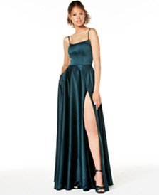 B Darlin Juniors' Satin Corset Slit Gown