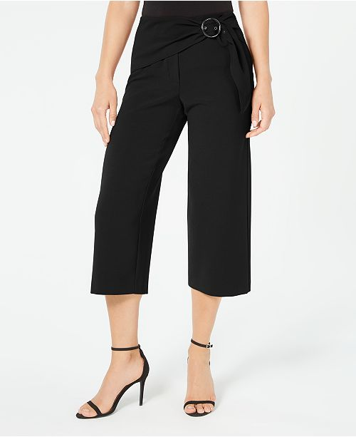 Alfani Petite Cropped Belted Culottes, Created for Macy's