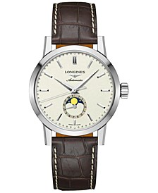 Men's Swiss Automatic The Longines 1832 Brown Alligator Leather Strap Watch 40mm