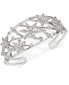 Eliot Danori Silver-Tone Crystal Openwork Cuff Bracelet, Created for Macy's