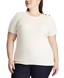 Plus Size Button-Trim Short-Sleeve Sweater