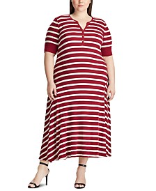 Lauren Ralph Lauren Plus Size Stripe-Print Waffle-Knit Cotton Dress